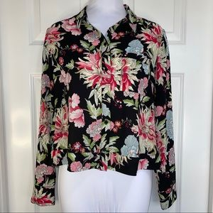 Express Floral Button Up Shirt Cropped Small/S